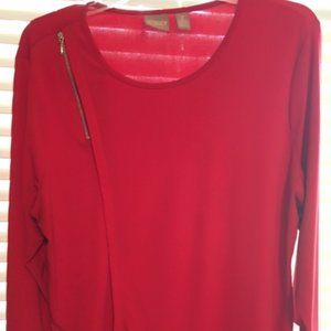 Chico's Red Three Quarter Sleeve Top